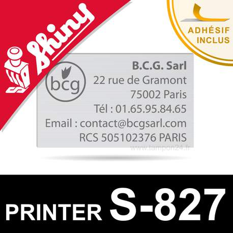 Plaque de texte personnalisée pour Shiny Printer S-827