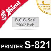 Empreinte pour Shiny Printer S-821, plaque de texte personnalisée