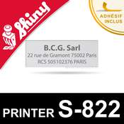 Empreinte personnalisée pour Shiny Printer S-822 (plaque texte)